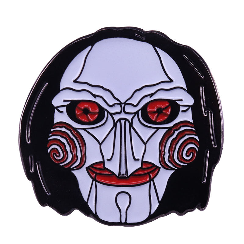 Horror movie Saw puppet badge creepy Billy Doll brooch Halloween gift costume accessory -Music Festival Essentials-1StopFestyShop.com