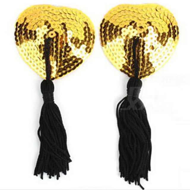 New Hot 1 Pair Sexy Pasties Stickers Women Lingerie Sequin Tassel Breast Bra Nipple Cover -Music Festival Essentials-1StopFestyShop.com