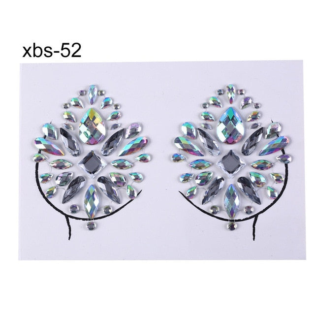 Nipple Cover Crystal Bra Stickers Adhesive Diamond Beads Breast Pasties Shiny Tattoo Sticker Bra Accessories Bra Pad Stickers -Music Festival Essentials-1StopFestyShop.com