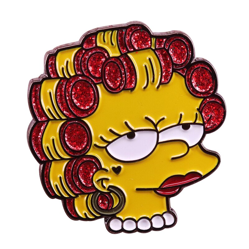 Sassy Lisa brooch Simpsons inspired glitter pin cute cartoon badge pop shirts jackets accessory -Music Festival Essentials-1StopFestyShop.com