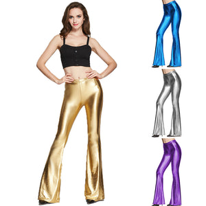 Sexy Nightclubs PU Leather Pants Skinny Bell Bottom Trousers For Women Push Up Disco Flare Pants Plus Size Stretch Shiny Legging -Music Festival Essentials-1StopFestyShop.com