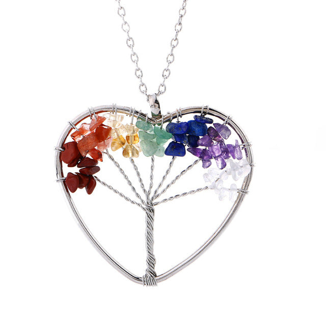 Natural Stone Crystal Pendant Necklace Women Men Wire Wrap Tree of Life Pendants Pendulum Gems Rainbow Jewelry -Music Festival Essentials-1StopFestyShop.com
