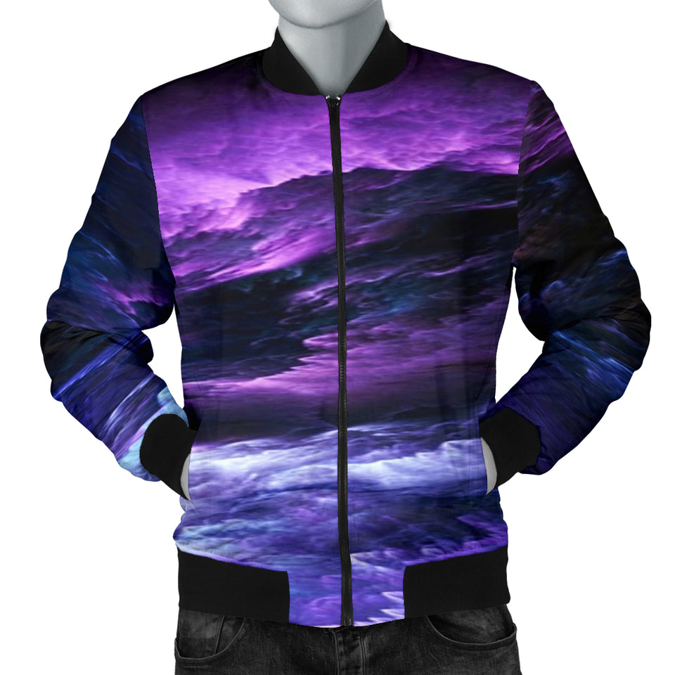 NP Purple Universe Men's Bomber Jacket -Music Festival Essentials-1StopFestyShop.com