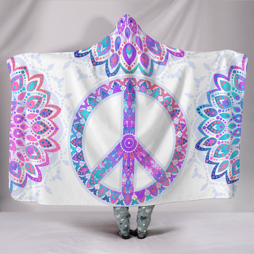 Peace Mandala Hooded Blanket -Music Festival Essentials-1StopFestyShop.com