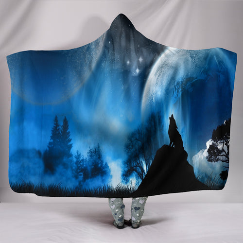 Wolf Blue Moon Plush Lined Wearable Hooded Blanket -Music Festival Essentials-1StopFestyShop.com