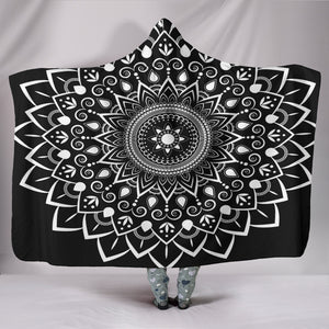 1Stop Festy Supply Shop  Black Mandala Hooded Blanket
