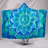 Blue Mandala Hooded Blanket -Music Festival Essentials-1StopFestyShop.com