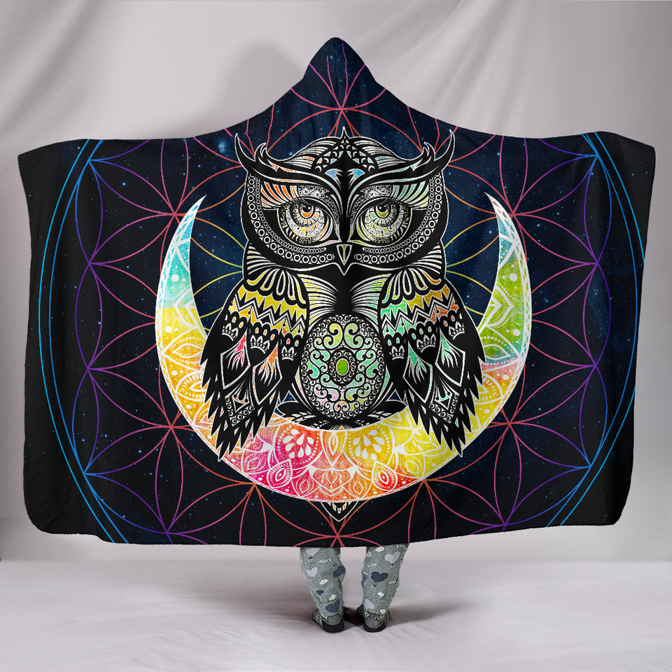 Colorful Owl Hooded Blanket -Music Festival Essentials-1StopFestyShop.com
