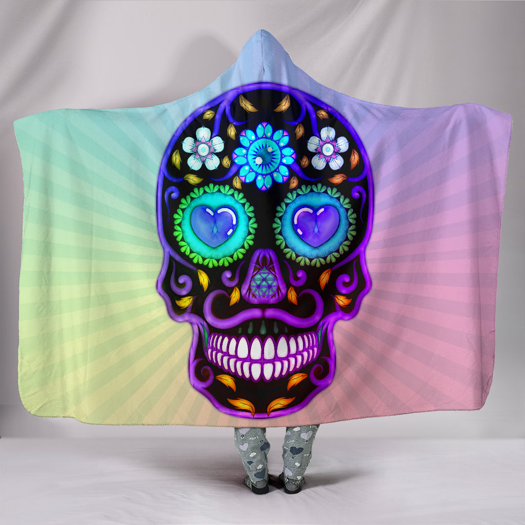 Sugar Skull Lover Hooded Blanket for Lovers of Sugar Skulls -Music Festival Essentials-1StopFestyShop.com