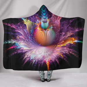 1Stop Festy Supply Shop  Psychedelic Alien Flower Hooded Blanket