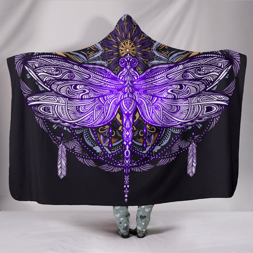 1Stop Festy Supply Shop  Purple Dragonfly Mandala Hooded Blanket