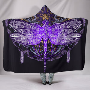 Purple Dragonfly Mandala Hooded Blanket -Music Festival Essentials-1StopFestyShop.com