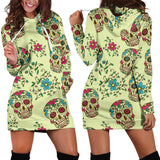 Green Sugar Skull Women's Hoodie Dress -Music Festival Essentials-1StopFestyShop.com