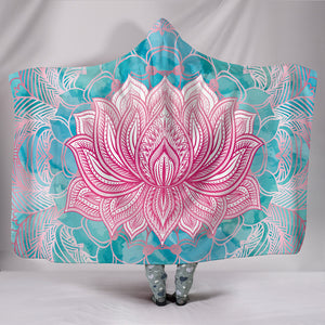 HandCrafted Magical Pink Lotus Hooded Blanket -Music Festival Essentials-1StopFestyShop.com