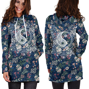 Yin Yang Floral Hoodie Dress -Music Festival Essentials-1StopFestyShop.com