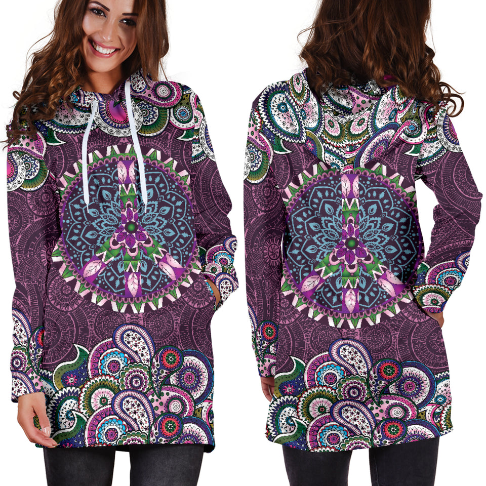 Purple Peace Mandala Hoodie Dress -Music Festival Essentials-1StopFestyShop.com
