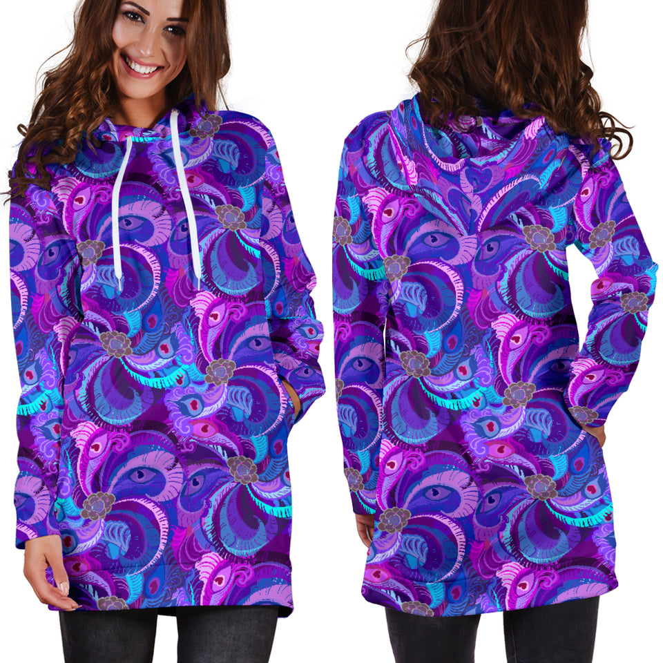 Purple Peacock Women's Hoodie Dress -Music Festival Essentials-1StopFestyShop.com
