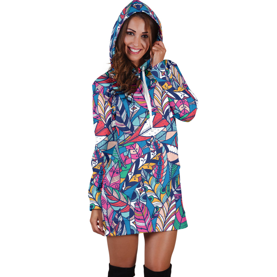 Boho Feather 2 Hoodie Dress -Music Festival Essentials-1StopFestyShop.com