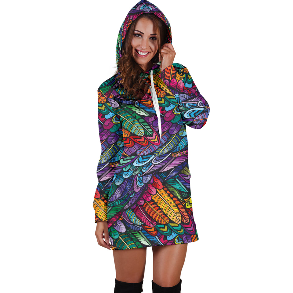1Stop Festy Supply Shop  Color Burst Feather Hoodie Dress