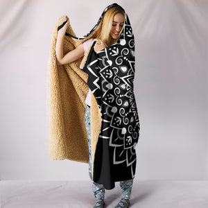 Black Mandala Hooded Blanket -Music Festival Essentials-1StopFestyShop.com