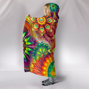Abstract Floral Hooded Blanket -Music Festival Essentials-1StopFestyShop.com