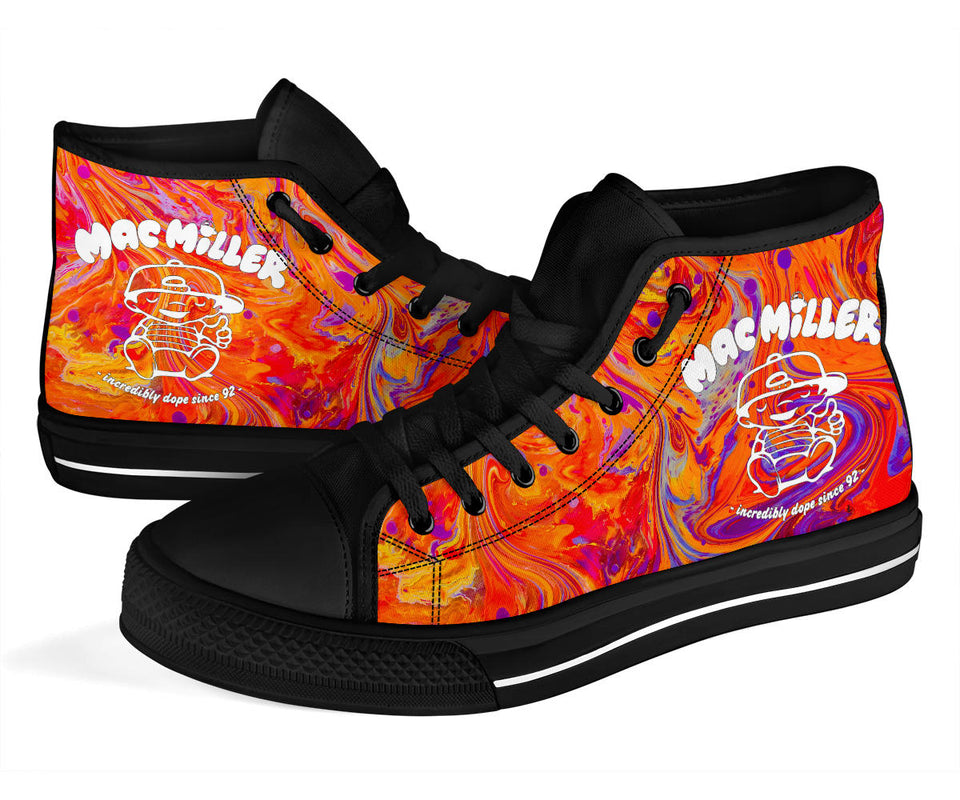Mac Miller Swirl High Top Shoes -Music Festival Essentials-1StopFestyShop.com