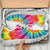 Tie Dye Trippy Rainbow Sneakers (Black Soles) -Music Festival Essentials-1StopFestyShop.com