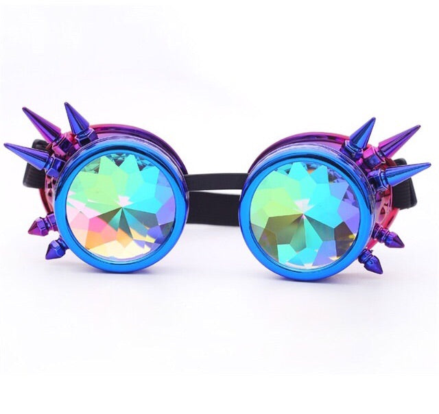 1Stop Festy Supply Shop  Blue Kaleidoscope Diffraction Goggles