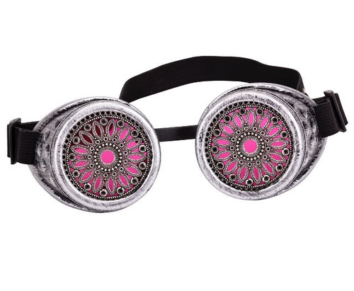 Silver and Pink Rave Goggles -Music Festival Essentials-1StopFestyShop.com