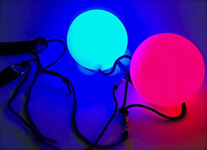 Multicolor LED Poi Set With Straps -Music Festival Essentials-1StopFestyShop.com