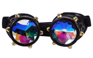 1Stop Festy Supply Shop  Black Frame Kaleidoscope Goggles