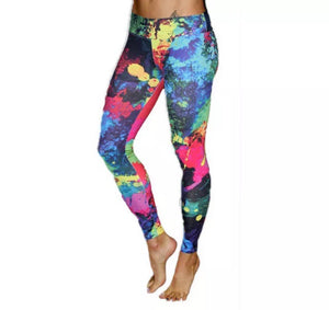 Neon Splatter Paint Leggings - 1Stop Festy Supply Shop