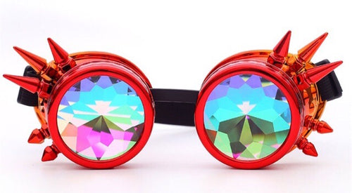 Red Kaleidoscope Rave Goggles -Music Festival Essentials-1StopFestyShop.com