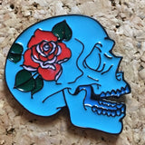 Light Blue Rose Skull Hat Pin -Music Festival Essentials-1StopFestyShop.com