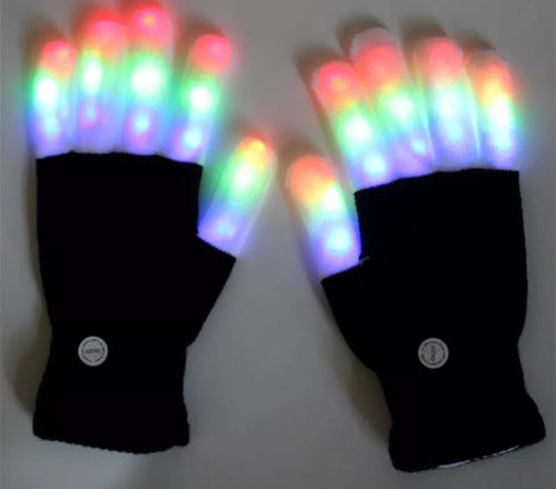 LED Multi Rave Color Gloves -Music Festival Essentials-1StopFestyShop.com