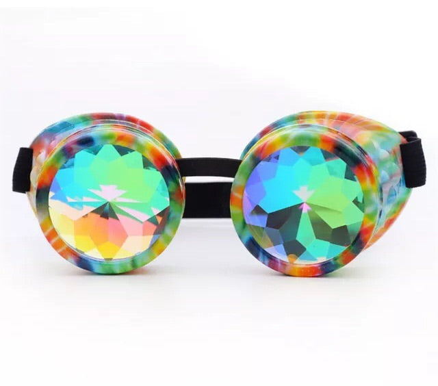 1Stop Festy Supply Shop  Rainbow Swirl Kaleidoscope Diffraction Rave Goggles