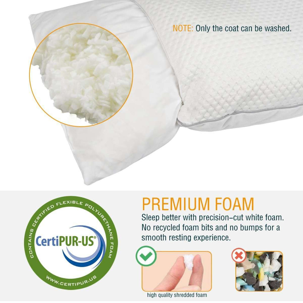 Reversible Cool Warm Silk Fabric Shredded Memory Foam Queen Pillow