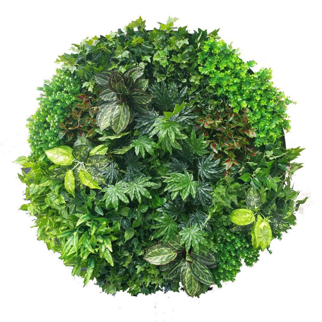 Artificial Green Wall Disk Art 150cm - Mixed Ivy And Philodendron