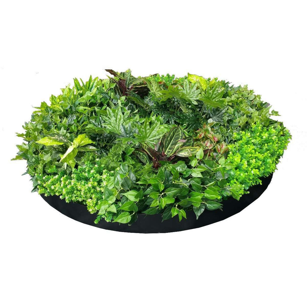 Artificial Green Wall Disk Art 150cm - Mixed Ivy And Philodendron - Desirable Home Living