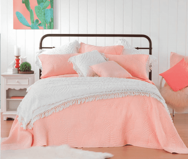 Sasha Queen/King Pink Coverlet Set + 2 European Pillowcases by Bianca