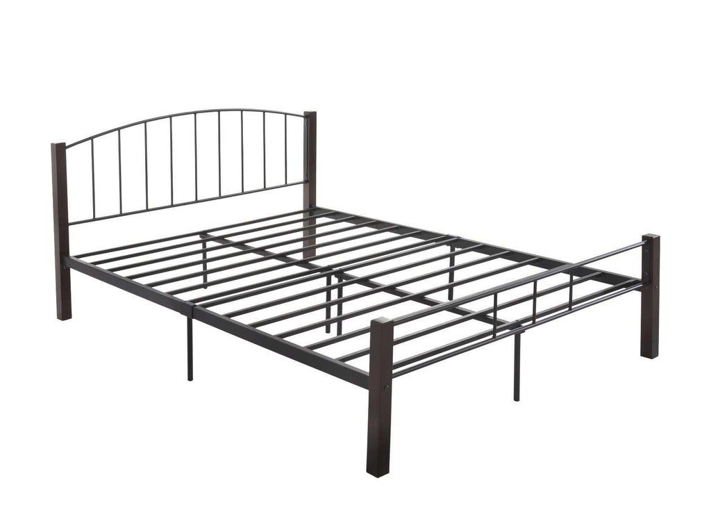 DOUBLE  bed frame w/ solidwood post in Black + Wenge