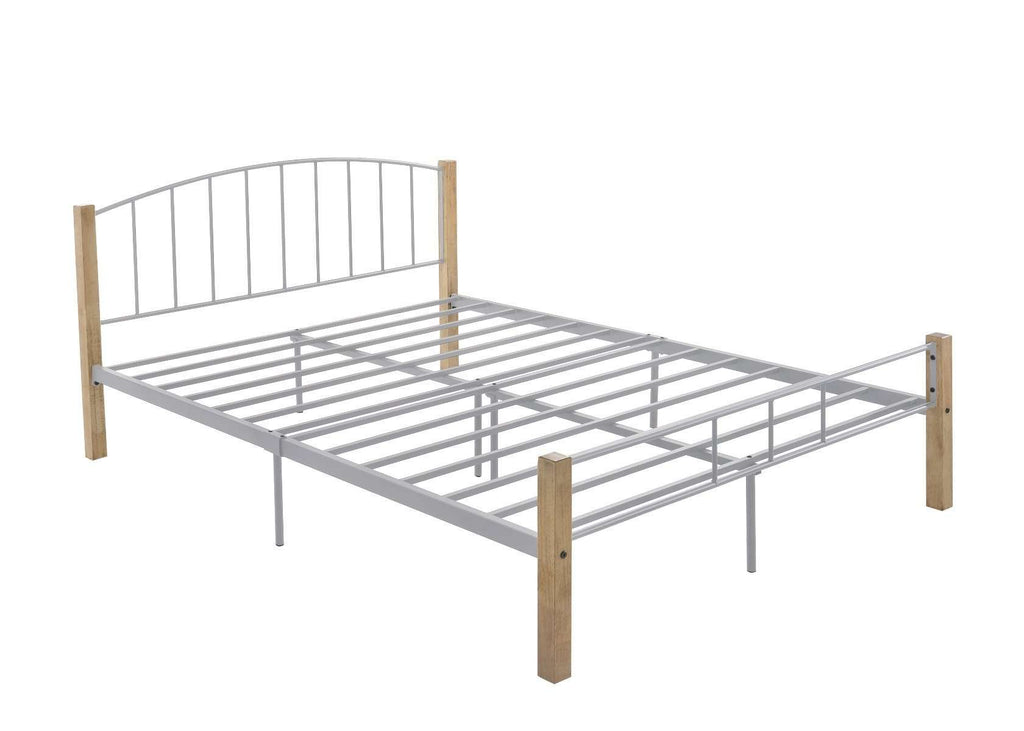 QUEEN  bed frame w/ solidwood post in Natural + Silver
