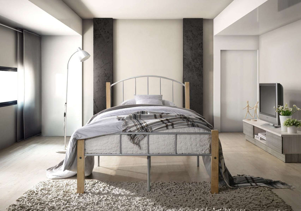 KING SINGLE bed frame w/ solidwood post in Natural + Silver