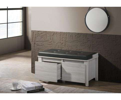 2 Drawers Bench Stool Storage Ottoman With Leather Upholstery In White Oak