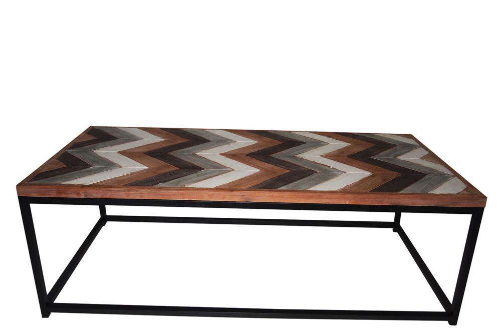 Wooden Coffee Table Contemporary Home Living Room or Office Wooden top Metal Frame