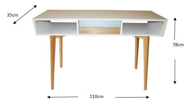 Skandi Design Hall Console Table with Drawer Wooden Frame Hallway Side Display