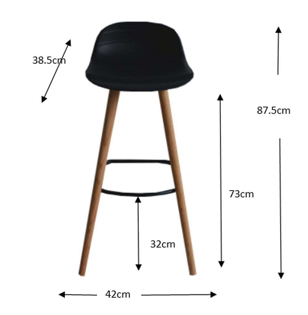 Set of 2 Penelope Black barstools with solid Red Oak legs - Desirable Home Living