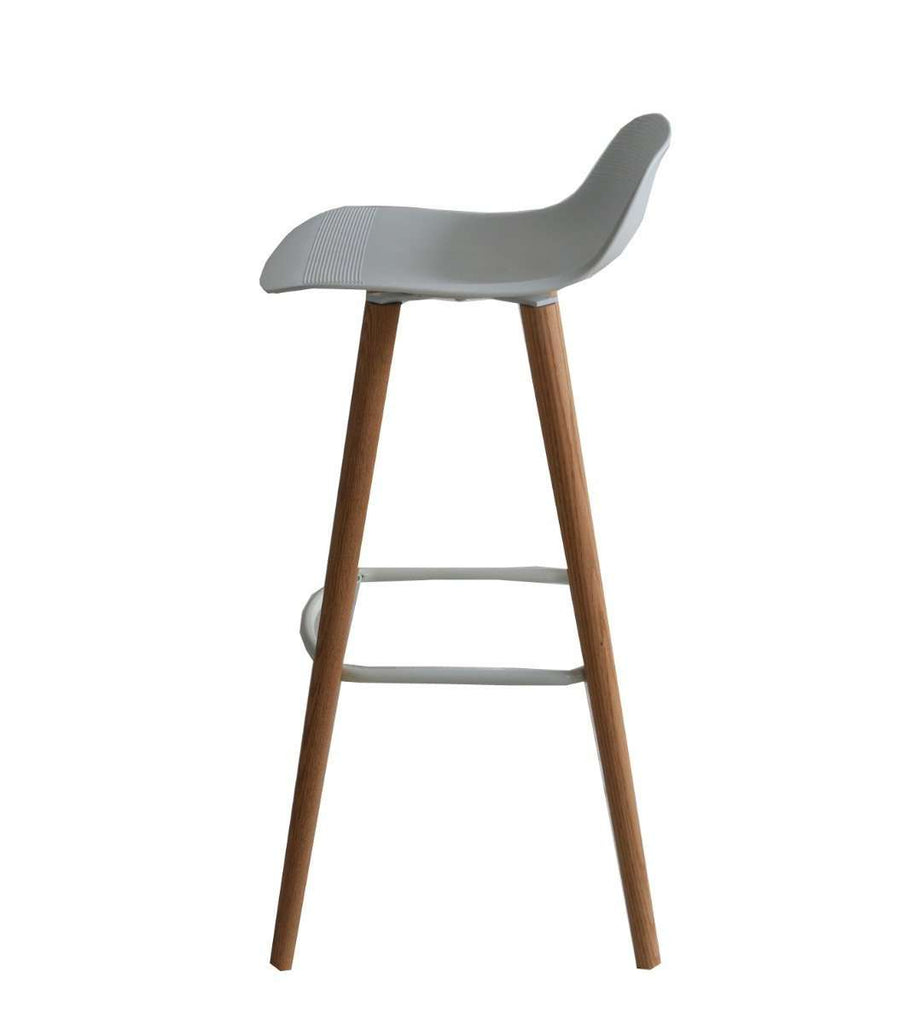 Set of 2 Penelope White barstools with natural solid Red Oak legs - Desirable Home Living