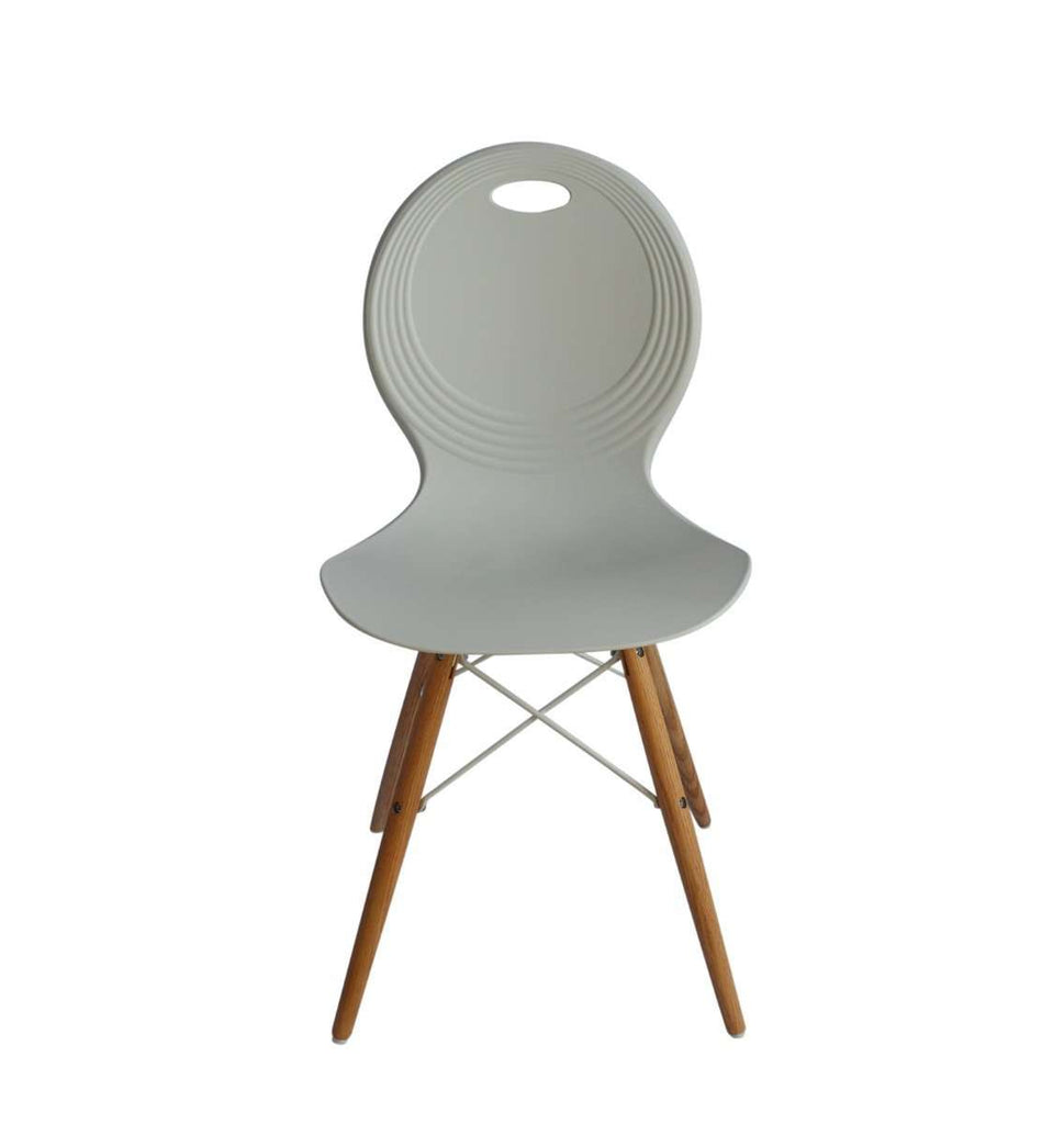 Set of 2 Trenz dining chair white with solid natural oak legs - Desirable Home Living