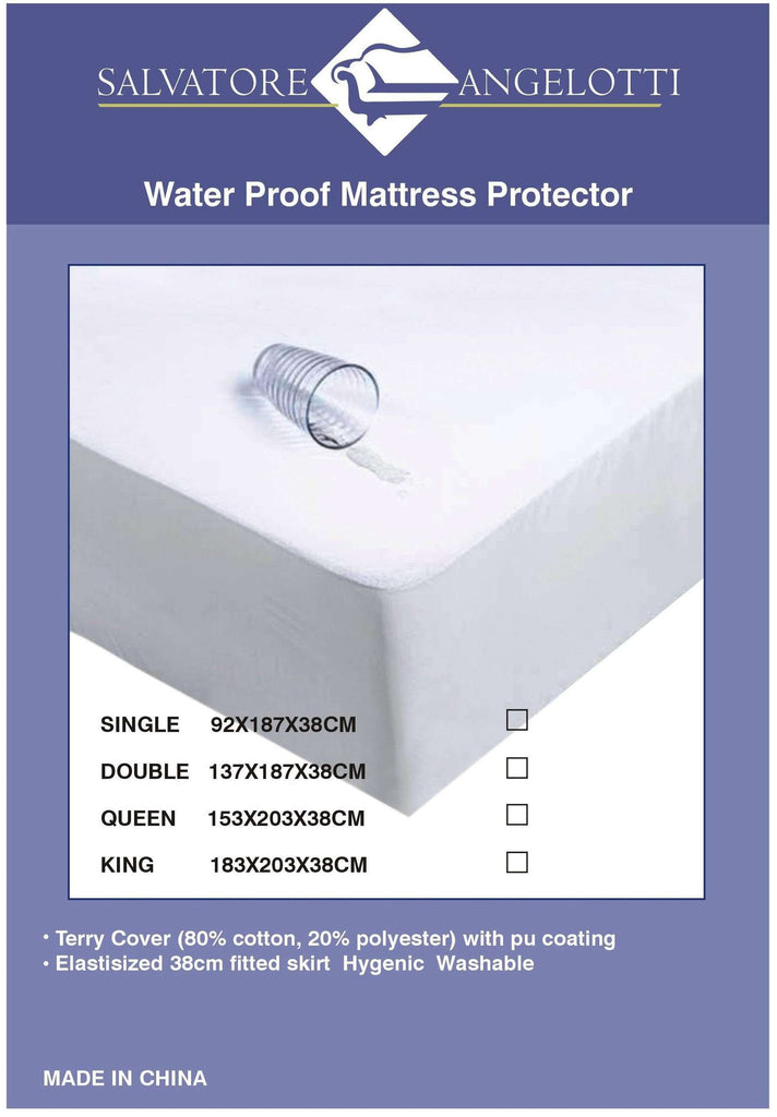 Single Mattress Protector - Waterproof Terry w Skirt - Desirable Home Living